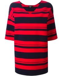 rote und schwarze horizontal gestreifte Tunika von DKNY