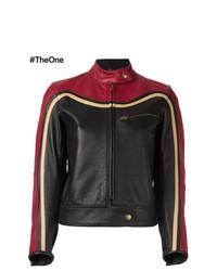 rote und schwarze Leder Bikerjacke von Chloé