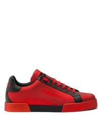 rote und schwarze Leder niedrige Sneakers