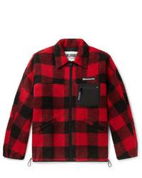 rote und schwarze Shirtjacke mit Karomuster