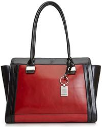 rote und schwarze Shopper Tasche aus Leder