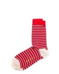 rote und weiße horizontal gestreifte Socke