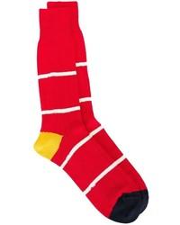 rote und weiße horizontal gestreifte Socken von Paul Smith