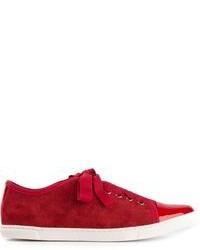rote und weiße niedrige Sneakers