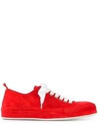 rote und weiße niedrige Sneakers von Ann Demeulemeester