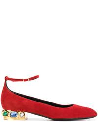 rote verzierte Leder Ballerinas von Casadei