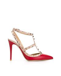 rote verzierte Leder Pumps von Valentino