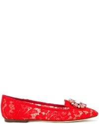 rote verzierte Leder Slipper von Dolce & Gabbana