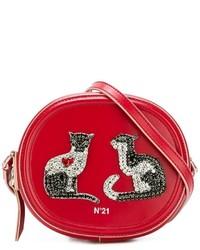 rote verzierte Leder Umhängetasche