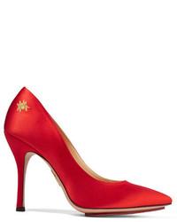 rote verzierte Satin Pumps von Charlotte Olympia
