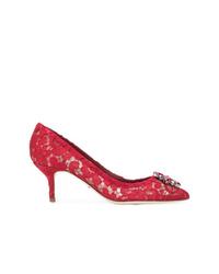 rote verzierte Spitze Pumps von Dolce & Gabbana
