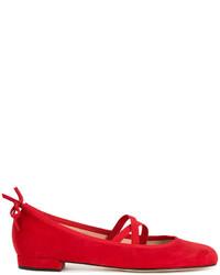 rote Wildleder Ballerinas von Stuart Weitzman