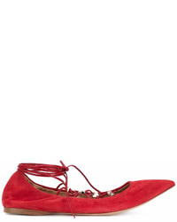 rote Wildleder Ballerinas von Valentino
