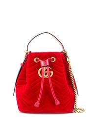 rote Wildleder Beuteltasche von Gucci
