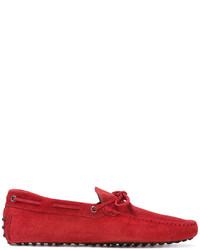 rote Wildleder Bootsschuhe von Tod's