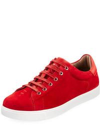 rote Wildleder niedrige Sneakers