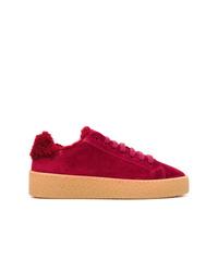 rote Wildleder niedrige Sneakers von Dsquared2