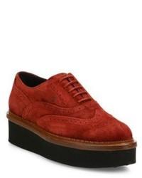 rote Wildleder Oxford Schuhe