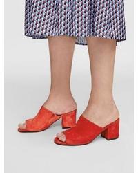 rote Wildleder Pantoletten von Bianco