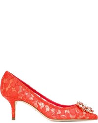 rote Wildleder Pumps von Dolce & Gabbana