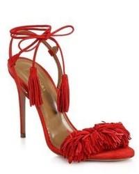 rote Wildleder Sandaletten mit Fransen