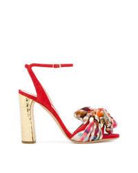 rote Wildleder Sandaletten mit Karomuster