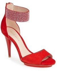rote Wildleder Sandaletten