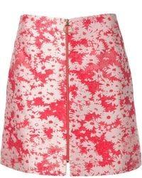 roter A-Linienrock mit Blumenmuster von Stella McCartney