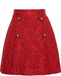 roter ausgestellter Rock mit Reliefmuster von Dolce & Gabbana