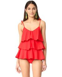 roter Badeanzug mit Rüschen von Lisa Marie Fernandez