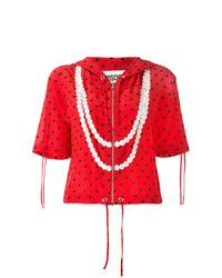 roter bedruckter Kurzarmpullover mit einem Kapuze von Moschino
