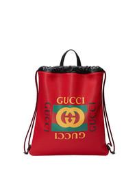 roter bedruckter Leder Rucksack von Gucci