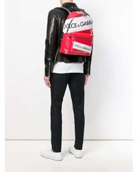 roter bedruckter Leder Rucksack von Dolce & Gabbana