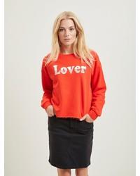 roter bedruckter Oversize Pullover von Vila