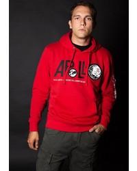 roter bedruckter Pullover mit einem Kapuze von Alpha Industries