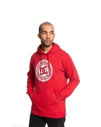 roter bedruckter Pullover mit einem Kapuze von DC Shoes
