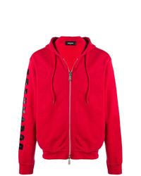 roter bedruckter Pullover mit einem Kapuze von DSQUARED2