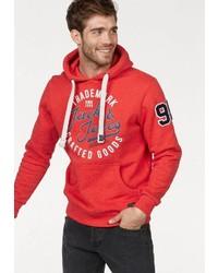 roter bedruckter Pullover mit einem Kapuze von Jack & Jones