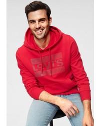 roter bedruckter Pullover mit einem Kapuze von Levi's