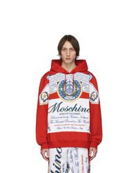 roter bedruckter Pullover mit einem Kapuze von Moschino