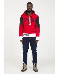 roter bedruckter Pullover mit einem Kapuze von PLUS EIGHTEEN