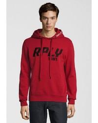 roter bedruckter Pullover mit einem Kapuze von Replay