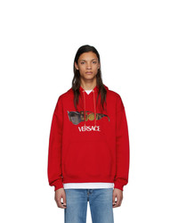 roter bedruckter Pullover mit einem Kapuze von Versace