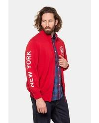 roter bedruckter Pullover mit einem Reißverschluß von JP1880