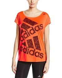 roter bedruckter Pullover mit einem Rundhalsausschnitt von adidas