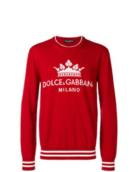 roter bedruckter Pullover mit einem Rundhalsausschnitt von Dolce & Gabbana