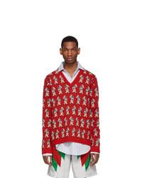 roter bedruckter Pullover mit einem V-Ausschnitt von Gucci
