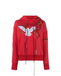 roter bedruckter Pullover mit einer Kapuze von Alexander McQueen