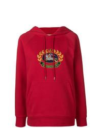 roter bedruckter Pullover mit einer Kapuze von Burberry