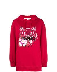 roter bedruckter Pullover mit einer Kapuze von Kenzo